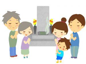 墓参り家族